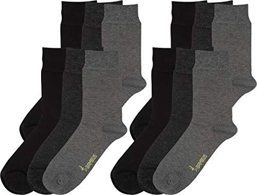 RS. Harmony | Socken & Strümpfe | Bambus Super Weich Atmungsaktiv | 12 Paar | schwarz, anthrazit, silber | 35-38