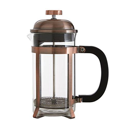 Premier Housewares Cafetiere ekspres do kawy przezroczyste szkło zaparzacz do kawy miedziana rama ze stali nierdzewnej kawa Caffettiera 21 x 16 x 10 cm