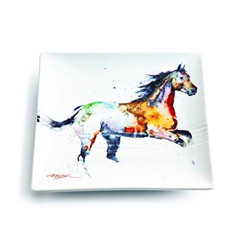 Demdaco Dean Crouser Bird Watercolor 7 x 7 Ceramic Stoneware Decorative Snack Plate (Running Horse)