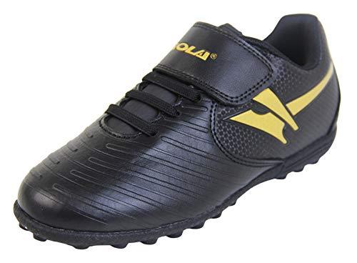 Gola Astro Turf Kinder Sportschuhe mit Schnürung, Fußballschuhe, Gold - Schwarz Gold Aka051 - Größe: 27 EU