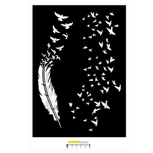 Carabelle Studio Feathers & Clouds Of The Birds Art Template sjabloon, veren en wolken van vogels voor het vormgeven van achtergrond met patroon en het maken van kunstwerken en knutselprojecten