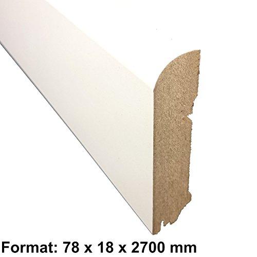 Sockelleiste CUBE Gerade Form | Farbe: Weiß | Länge: 250 cm - Tiefe: 18 mm - Höhe: 78 mm | Sie kaufen 1 Stück mit 250 cm Länge - Höhe: (78 mm)