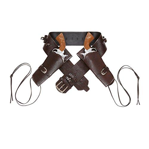 Amakando Pistolengürtel mit Zwei Halftern Westerngurt braun Colt Cowboy Halfter Gangster Revolver Halterung Wild West Party Fasching Zubehör
