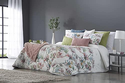 SANDECO - Edredón Conforter Toledo Terciopelo Estampado con 2 Fundas de Cojín - Cama 150 - Floral