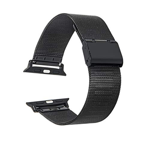 Cinturino Apple Watch 44 mm 38mm 42mm 40mm Smartwatch Bracciale Ricambio Compatibile Serie 6 5 4 3 2 1 SE Regolabile Universale Donna Uomo Traspirante Maglia Acciaio Inossidabile (42/44mm Black)