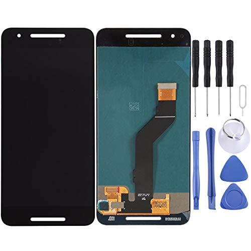 O-OBDO Reemplazo de pantalla LCD para Google Nexus 6P pantalla táctil LCD y digitalizador Asamblea de cristal táctil reemplazo con herramientas de reparación de (color: negro)