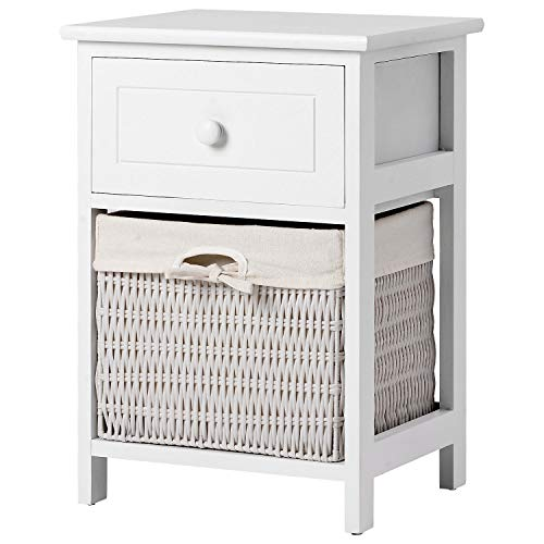 Bedside Table Set, Retro Bedside Table with Wicker Basket for Bedroom, Wood Bedside Cabinets with 1 Drawer, Cabinet for Living Room (White)