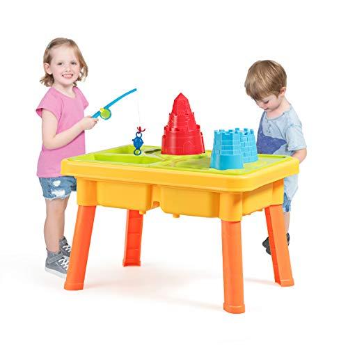 GOPLUS Sand- und Wasserspieltisch mit viele Zubehör, Sandkastentisch...