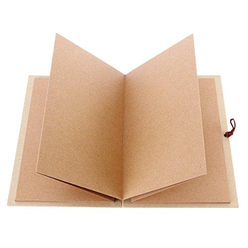 LUOEM Kraft papier relié Accordéon Style bricolage Photo Ablum livre 36 Page blanc Scrapbook pour l'obtention du diplôme anniversaire anniversaire mariage cadeaux Saint-Valentin (brun clair)