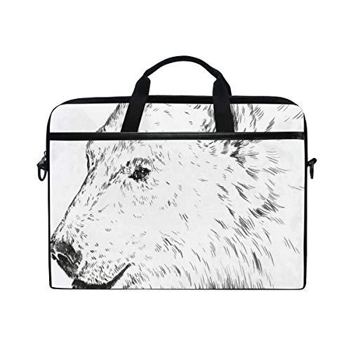 FOURFOOL 15-15.6 Inch Bolsa de Ordenador,Animal Sketch Bear Face Sketchy Print,Nuevo Patrón de impresión...
