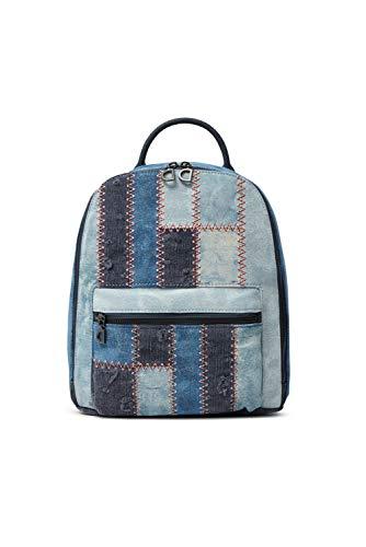 Desigual Denim Backpack Medium, Zaino Medio Donna, Blu