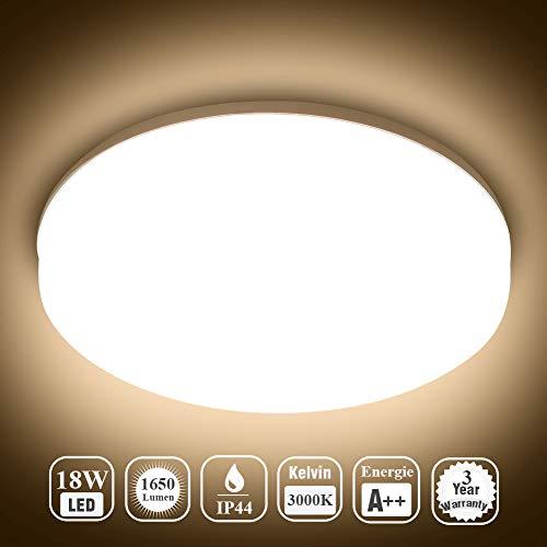 Öuesen 18W Wasserdichte LED-Lampe Decke Moderne dünne Runde LED bündige Deckenleuchte 1650lm Warmweiß 3000K LED Deckenlampe für Badezimmer Schlafzimmer Küche Wohnzimmer Korridor Balkon Flur Bad