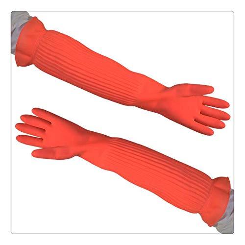 HeWan Handschuhe Reinigen-4 Paar/Set, extra Lange wasserdichte Gummihandschuhe Latexhandschuhe Gummihandschuhe, S