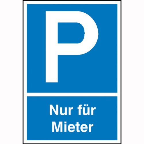 INDIGOS UG - Parkplatzschild Symbol: P, Text: Nur für Mieter, Kunststoff, 25x40 cm