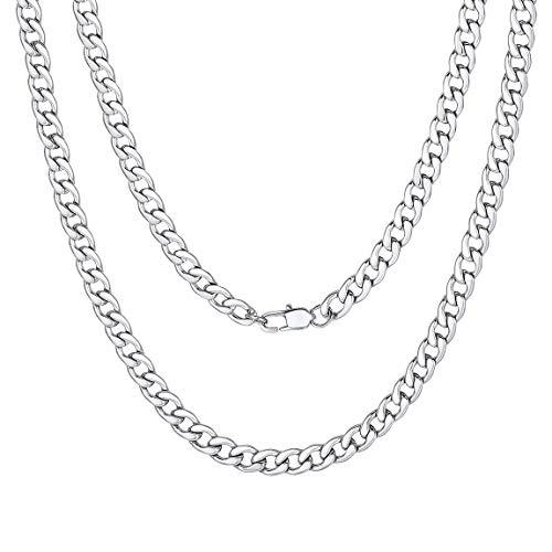 ChainsPro Klassische Panzerkette Kubanische Kette Edelstahl Herren Halskette 5mm Breit Herren Halskette Edelstahl Silber 61CM Choker für Damen/Herren