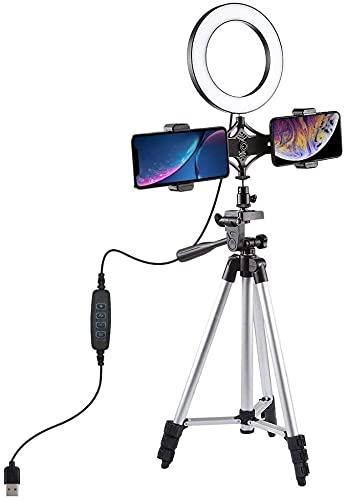 YQLWX Muqingyun Luz de Anillo Selfie Recargable 6.2 Pulgadas Video USB Luz de Anillo con trípode Soporte de luz Dual Clip de teléfono para TIK TOK Youtube Streaming en Vivo