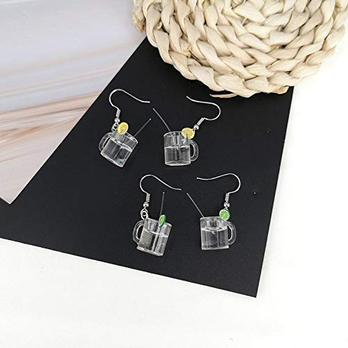 Erin Sommer Stil 3D Limonade Tasse Lemon Flasche Ohrringe Persönlichkeit Mode Spaß DIY Saft Trinken Frauen Schmuck Zubehör