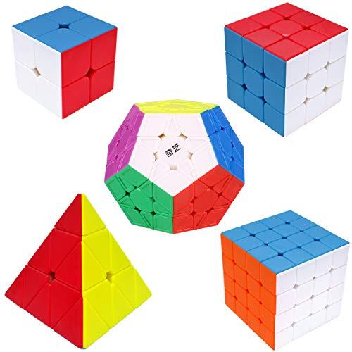 Maomaoyu Speed Cube ,Cube de Vitesse Pack de 5,Ensemble de Cubes 2x2 3x3 4x4 Megaminx Pyraminx Pyramide Cube(sans Autocollant)