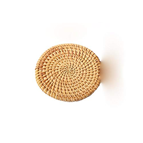 JIAYAN Round Natural Rattan Coaster Bowl Mat Manually Insulated Placemat for Dining Table Mat Coasters Kitchen Decoration Accessories