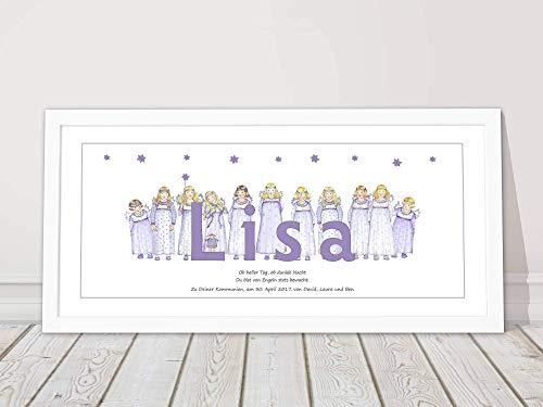 Taufgeschenk Namensbild personalisiert für Babys und Kinder zur Geburt Kommunion Kunstdruck Schutzengel