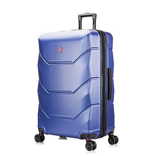 DUKAP Zonix 30 Inch Large Lightweight Hardside Luggage with Spinner Wheel, Travel Suitcase with Ergonomic GEL Handle, Blue