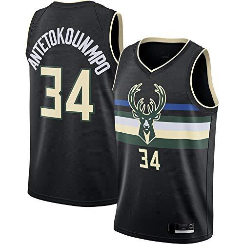 YZQ Baloncesto para Hombre Uniforme-Camiseta De Verano NBA - Milwaukee Bucks # 34 Giannis Antetokounmpo - Fans Jersey Sin Mangas Chaleco,M(170~175cm/65~75kg)
