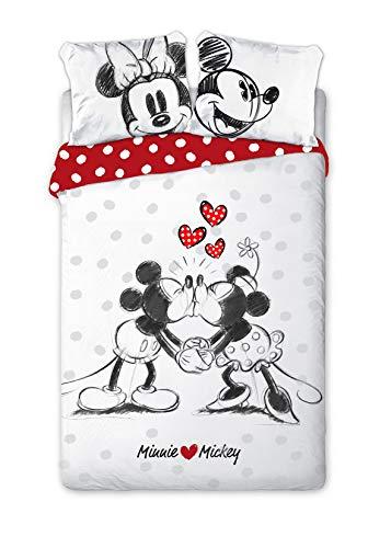 Aymax Wende Bettwäsche-Set Disney Minnie Maus 135 x 200 cm 80 x 80 cm mit Traumfänger 100% Baumwolle Linon alt-rosa Minnie Mouse