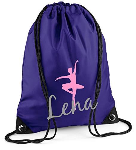 Gymtas met naam | incl. naam | motief balletdanseres | personaliseren & bedrukken | sporttas meisjes kinderen roze ballerina lila
