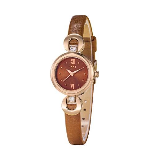Relojes Mujer Pequeño Marrón Reloj Números Romanos Elegante Relojes Pulsera Delgada Cuero