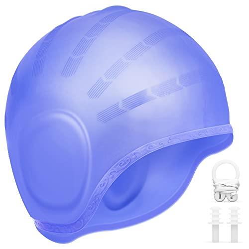 AUGOLA Gorro de natación de Silicona Impermeable Gorro de baño para Mujeres y Hombres Unisex Gorro de natación para Cabello Corto y Largo (Azul)