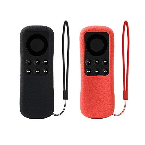 SIKAI 2-Pack Custodia Protettiva Compatibile con Telecomando Fire TV Stick Basic Edition Shockproof Antipolvere Anti-Scivolo Anti-Perso con Cordino (Nero-Rosso)