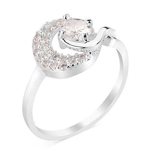 925 Ayar Kaliteli Gümüş Ay Yıldız Model Tek Taş Bayanlar İçin Takı Gümüş Yüzük Sterling Silber Moon Star Pattern Single Stone Silber Ring für Damen Schmuck Modeschmuck
