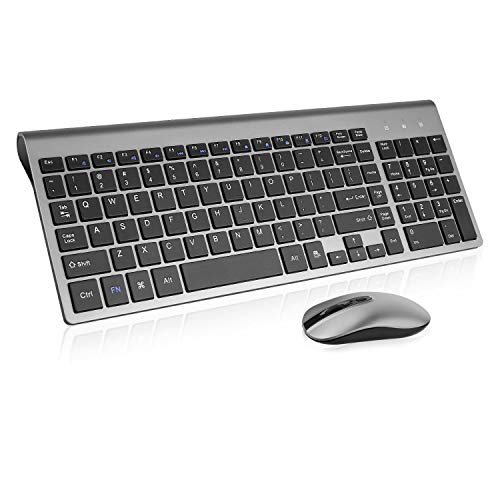 Wireless Keyboard Mouse Combo, cimetech Compact Full Size Wireless Keyboard and Mouse Set 2.4G Ultra-Thin Sleek Design for Windows, Computer, Desktop, PC, Notebook - (Grey)