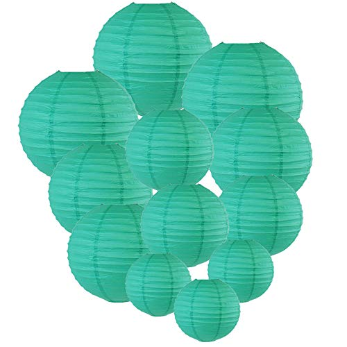 Just Artifacts Decorative Round Chinese Paper Lanterns 12pcs Assorted Sizes (Color: Teal Blue Green)