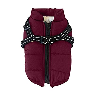 Ruipunuosi Dog Clothes Winter Vest Pet Jacket Autumn Winter Skiing Costume Sleeveless Cotton Padded Vest With Chest Strap Harness Coat For Small Medium Large Dogs