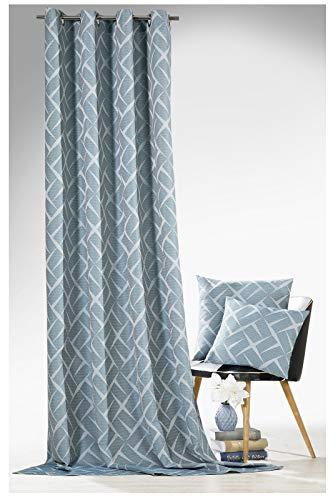heimtexland ® Ösenschal Blickdicht Exclusiv Struktur Vorhang Gardine weichfliesend HxB 245x140 Petrol Blau Typ594