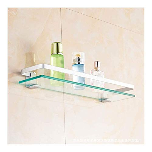WZNING Estante de cristal para baño, para pared, ahorro de espacio, resistente a la corrosión, estantes flotantes extrafuertes (tamaño: 40 cm)