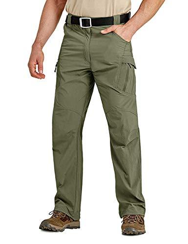 Pantalons imperméables d'extérieur pour hommes Pantalons légers coupe-vent à séchage rapide Pantalons tactiques de l'armée de fret pour hommes avec poches multiples Vert