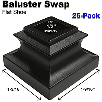 """1/2"""" Stair Iron Baluster Swap Flat Shoes (25-Pack) Railing Stair Parts for Square Metal Scroll Basket Twist Knuckle Spindles NO Set Screw (Satin Black)"""