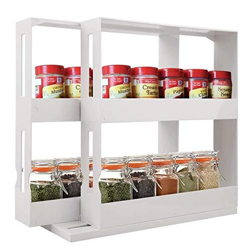 LEIJINGZI Rotatorio estante de especia, de 2 niveles Spice Rack con base...