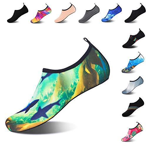Mens Womens Water Shoes Barefoot Beach Pool Shoes Quick-Dry Aqua Yoga Socks for Surf Swim Water Sport (Shark, 40/41EU)