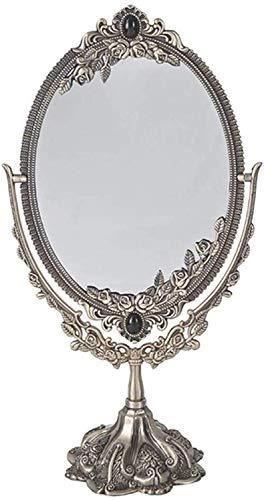 Maquillaje hogar espejo espejo de la manera grande Tocador Espejo con el soporte, bilateral maquillaje giratorio oval de escritorio espejo de estilo de la vendimia libre ajustable HD Belleza Permanent
