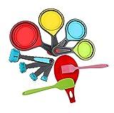 Hillento de silicona tazas de medir y cucharas establece, tazas de medir plegables establecen y fijan cucharas de medir, 11 conjunto pieza,la cocina y utensilios de cocina para hornear de preparación