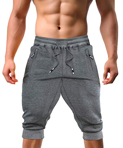 EKLENTSON Men's Three-Quarter Jogger 3/4 Capri Pants for Men Athletic Gym Running Yoga Shorts Men