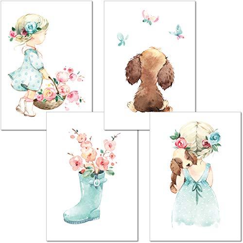 LALELU-Prints | A4 Bilder Kinderzimmer Deko Mädchen | Zauberhafte Aquarell-Bilder rosa mint | Poster Babyzimmer | 4er Set Kinderbilder (DIN A4 ohne Rahmen)