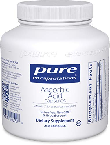 Pure Encapsulations - Ascorbic Acid Capsules - Hypoallergenic Vitamin C Supplement for Antioxidant Support* - 250 Capsules