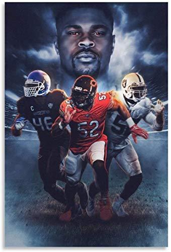 ZRRTTG Posters Wall Art Canvas Khalil Mack Football Motif al for bedroom Decor Painting Walls Poster Prints Artwork 23.6'x31.5'(60x80cm) NO FRAME