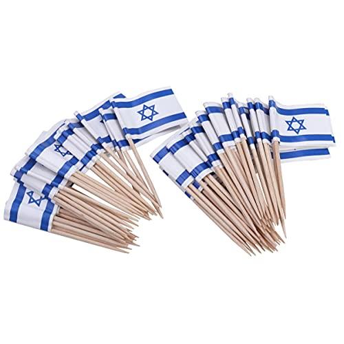 BESPORTBLE 100Pcs Israelische Zahnstocher Flagge Israel Fahnen Holz Cupcake Topper Flagge Kleine Mini Stick Fahnen Picks Cocktail Picks für Welt Tasse Land Sport Partei Liefert