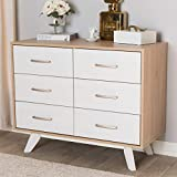 Baxton Studio Helena Mid-Century Modern Natural Oak and Whitewashed Finished Wood 6-Drawer Dresser/Mid-Century/White/Light Wood/Particle Board/MDF
