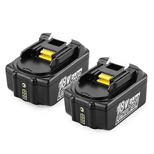 ENERGUP 2 Stück 18V 5000mAh Lithium Ersatz Akkus für Makita BL1860B BL1860 BL1850B BL1850 BL1840 BL1830 BL1820 194205-3 Werkzeugakkus